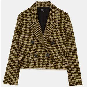 Zara Houndstooth blazer, yellow